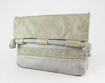 HUGE Light Grey Clutch, 80s Avant Garde Envelope Purse, vegan leather large Oversized New Wave slouchy soft hipster handbag