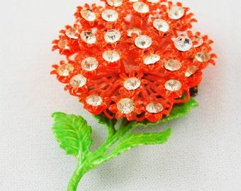Vintage Orange Floral Brooch