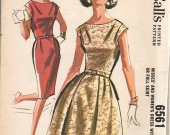 FACTORY FOLDED 1962 Misses' Dress With Slim or Full Skirt McCall's 6561 Size 12 Bust 32