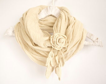 Eco Friendly Loop Scarf in Natural White with a Crochet Rose