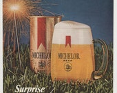 1971 Michelob Beer Fireworks Advertisement July 4th Celebration Summer Independence Day Can Bottle Bar Pub Wall Art Decor