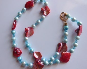 Love tender pink and blue Necklace  322