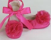 Fuchsia Satin Baby Shoe, Satin Flower Girl Ballet Flat, Easter Toddler Couture Ballet Slipper, Girls Wedding Shoe Dance Crib Shoe Baby Souls
