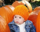 Crochet Pattern for Halloween Pumpkin Beanie Hat - 5 sizes, baby to adult - Welcome to sell finished items