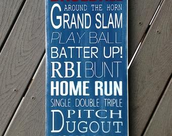 Baseball Typography Art Wood Sign - Subway Art - Children/Teen Wall Art