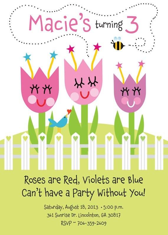 flower garden birthday party invitation for kids by tbonesquid. Black Bedroom Furniture Sets. Home Design Ideas