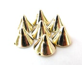 25 Large Bright Gold Spike Beads - 12mm - Great For Studding Clothes and Shoes
