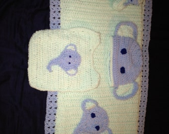 Elephant Baby Blanket (crib sized) and set with hat, bib, & booties