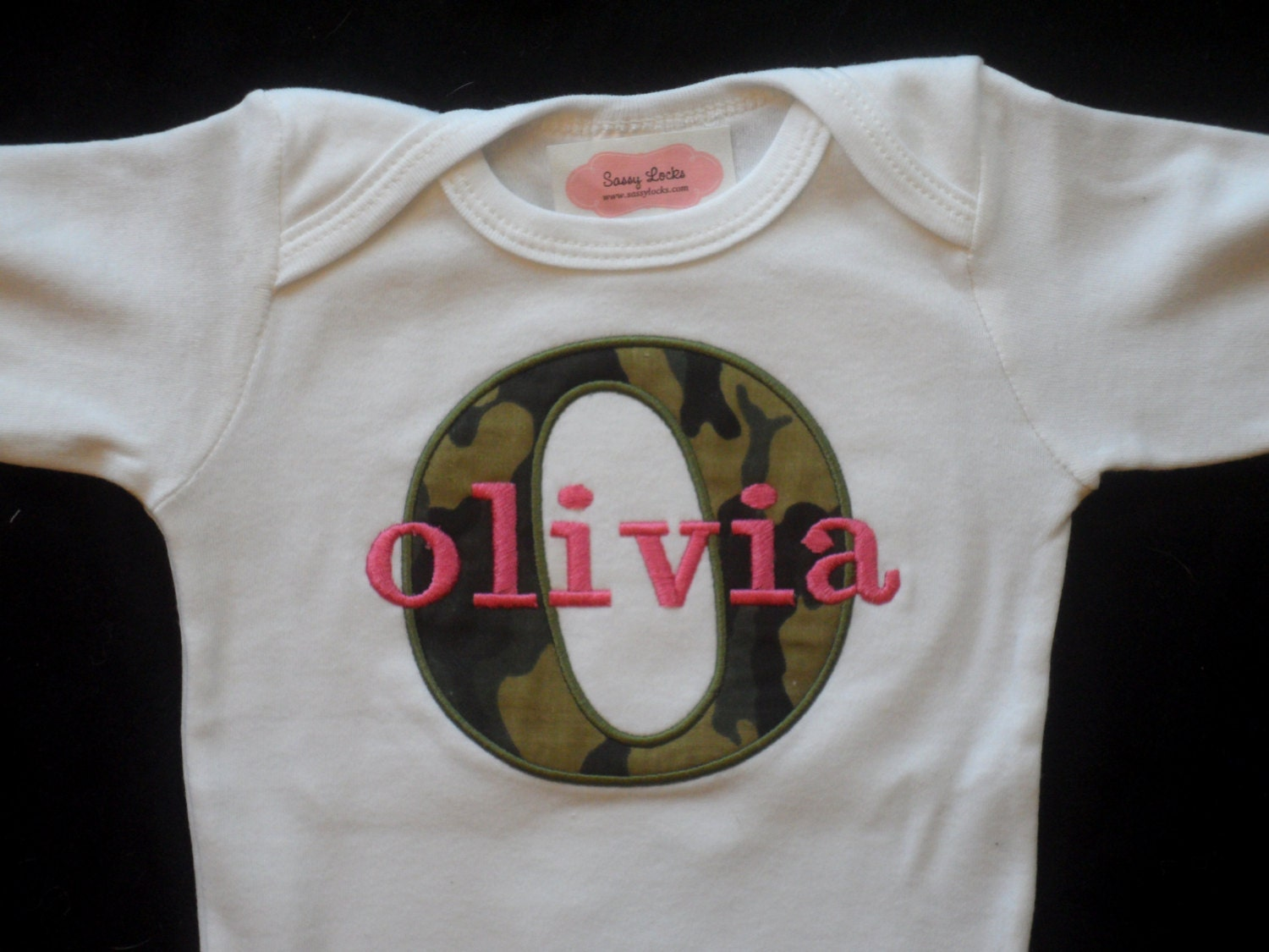 Personalized baby girl clothes pink camo baby girl by sassylocks