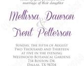DIY  Wedding Elegant borders PRINTABLE Invitation 5x7   wedding, baby shower bridal  purple grey  You pick colors