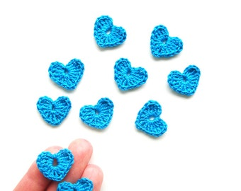 Crochet Heart Appliques, Turquoise Blue, Set of 10, Valentines Day Heart Love Motif, Scrapbooking, Party Decorations, Bright Turquoise Heart