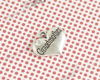 1 - Tibetan Silver Rhinestone Bridal Party Heart Tag Charms, Grandmother Charm, 16mm x 14mm (6-2B)