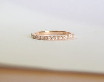 Diamond wedding band, half eternity about 0.34 carat diamonds 1.5mm wide, 14k gold . Payment Plan is available.  P-076-2 1.5mm