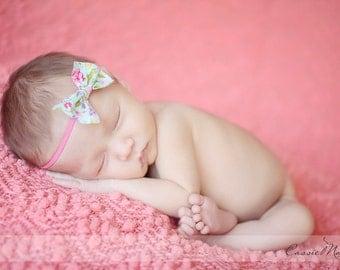 Fabric Bow Headband- newborn photo prop, babies, girls, women