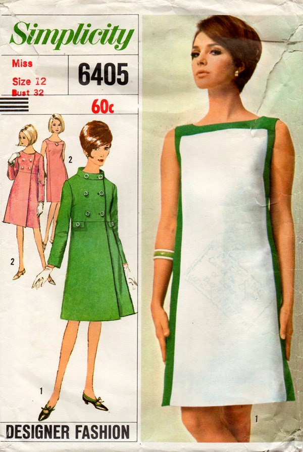 1960s Mod Dress Amp Coat Vintage Sewing Pattern Simplicity
