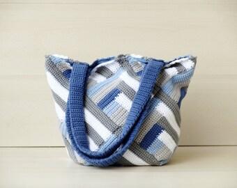 Blue crochet tote bag, large handbag crochet shoulder bag granny bag boho  tote bag, stripes nautical purse, crochet handbag gray blue white