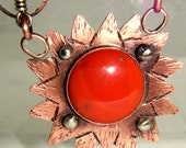 Red Jasper,  Reclaimed Copper and German Silver Necklace with Carnelian beads, Upcycled Cool Necklace, Great Boho Piece