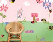 Bug and Flower Wall Mural Stencil Kit for Baby Girls Room (stl1005)