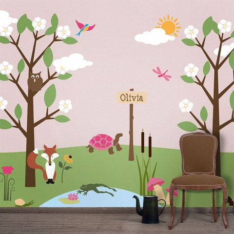 Forest Wall Mural Stencil Kit For Kids Room Baby Nursery