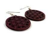 Sustainable Wooden Flower of Life Earrings - Small in Red Stained Maple - Sacred Geometry