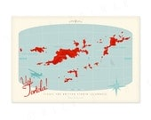 "Visit Tortola -  British Virgin Islands Retro Map - 18""W x 12""T"