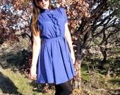 SALE 1970s does 1950s YIN YANG Dress Ruffle Geometric Purple Midi // SiZE S / M