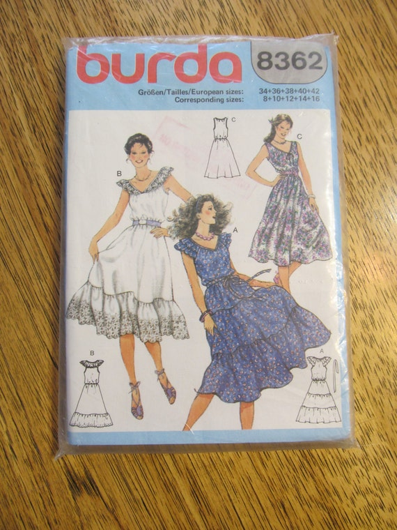 Boho Spring Tiered Mexican Ruffle Dress Uncut Sewing Pattern