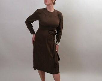 1940's silk dress in cocoa