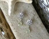Silver Lotus Flower and Rutilated Light Green Quartz Teardrop Dangle Earrings