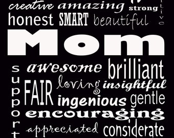 """MOM you're awesome black 5x7"""" print gift for Mother's Day Mom's birthday"""