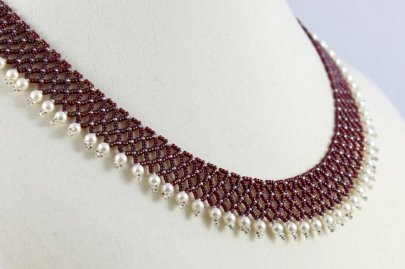 Red Necklace - Seed Bead Necklace - Pearl Collar - Netting Necklace - Beadwork Jewelry - Netted Necklace - Victorian Lace