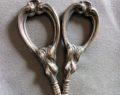 Antique Art Nouveau Sterling Silver Sewing or Vanity Scissors