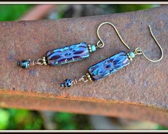 Burgundy Czech Glass Flower Earrings opaque burgundy glass earrings