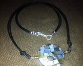 """Abalone Mosaic Coin necklace with faux leather cord choker 17"""""""