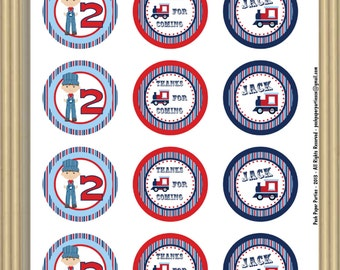 Train Themed Birthday Party -  DIY 2 inch Party Circles - PDF File - Print at home - Personalized