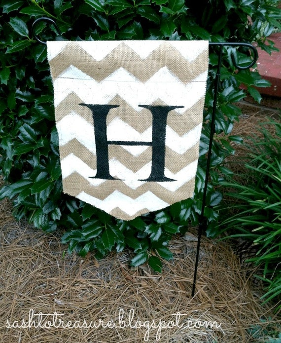 Hand Painted Burlap Monogrammed Garden Flag With By