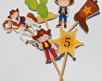 DIY Print at Home Cowboy Party Assorted Cupcake Toppers Set of 6 Images