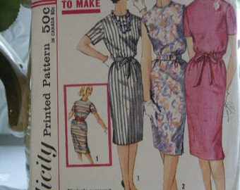 Vintage 1961 Simplicity Simple to Sew Classic Slim Wiggle  Proportioned Dress 3780 Sewing Pattern Size 14 Bust 34