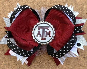 """TEXAS AGGIES Hair Bow Boutique Style  4 1/2"""" Bottle Cap Bow with Sparkly White Tulle and A&M Bottle Cap Toddler Girl"""