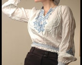30s RARE BOHEMIAN BLOUSE Sheer Embroidered Hungarian Folk Top, small