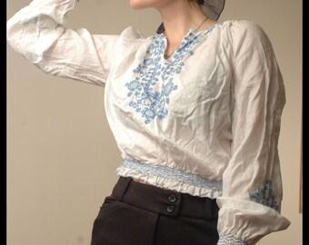 30s RARE BOHEMIAN BLOUSE Sheer Embroidered Hungarian Folk Top, small
