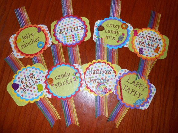 Candy Bar Labels for Birthday Parties, Wedding Showers and Weddings. Candy Land Theme- Customizable colors and candy names.