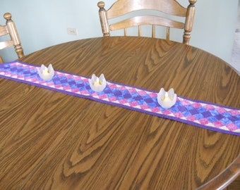 Rainbow Table Runner - Patchwork Table Topper - Blue Pink Purple Table Runner - Handmade Table Runner