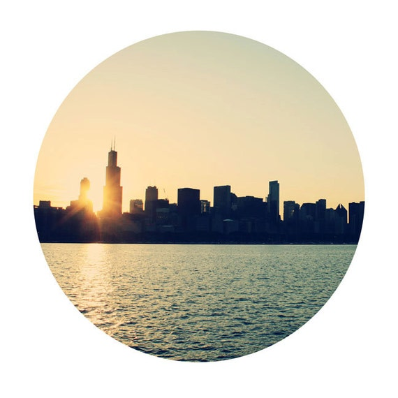 Cityscape Photography - Circle Print - Circular Photo  - Chicago Skyline Urban Art Sunset Photo - 8x8 Fine Art Photograph