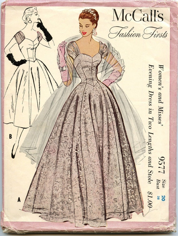 1950s Evening Dress Pattern McCalls 9577 Fashion Firsts Pattern Evening Dress in Two Lengths and Stole Bust 38