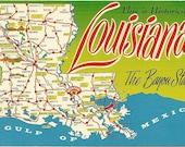 Historical Louisiana The Bayou State -  Map - 1960s Vintage Postcard