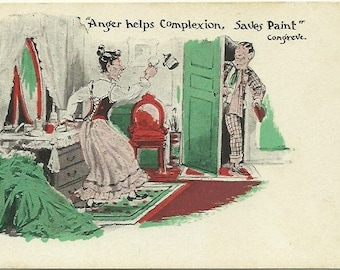 """Antique Undivided Back UB Postcard Comic by J. I. Austen Chicago """"Anger Helps Complexion, Saves Paint""""  1900 - 1909"""
