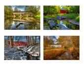 Covered Bridge Photo Set, Landscape Photography, Seasons, Historic Bridges, Vintage, Color photograph, Bucks County, Pennsylvania, Prints