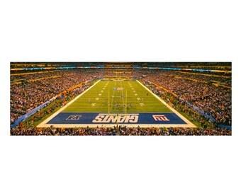 New York Giants Super Bowl XLVI Color Photograph Football Sports Photography Lucas Oil Stadium Indianapolis  Panoramic Art Print
