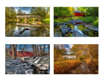 Covered Bridge Photo Set, Landscape Photography, Seasons, Historic Bridges, Color photographs, Bucks County, Pennsylvania, Home Decor, Art
